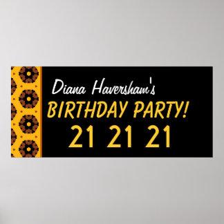 Custom 21st Birthday or Any Year Gold Stars Poster