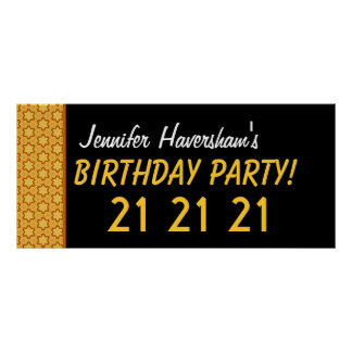 Custom 21st Birthday or Any Year Gold Stars Poster