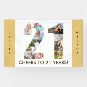 Custom 21st Birthday Party Neutral Photo Collage Banner