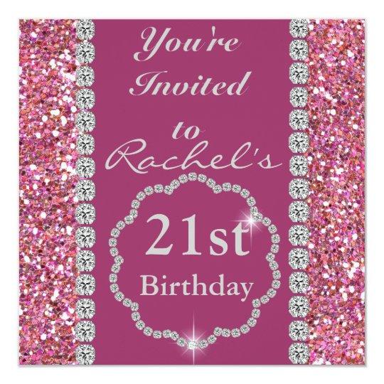 Custom 21ST PINK BLING Birthday Invitation
