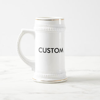 Custom 22oz Traditional Beer Stein WHITE & GOLD