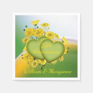 Custom 25th Anniversary Party Yellow Flower Garden Disposable Napkin