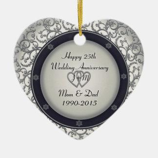 Custom 25th Silver Wedding Anniversary Ceramic Heart Decoration