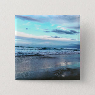 Custom 2 Inch Square Button Beach Sunset.