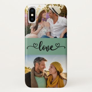 Custom 2 Photo Love Heart Calligraphy Mint Sage Case-Mate iPhone Case