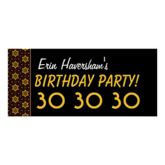 Custom 30th Birthday or Any Year Gold Stars Poster