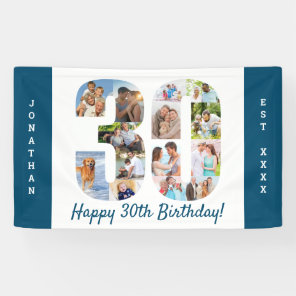 Custom 30th Birthday Party Photo Collage Banner