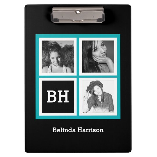 Custom 3 Instagram Photos Personalised Turquoise Clipboard