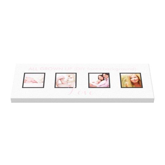custom 4-Photo frames DIY font+background Canvas Print