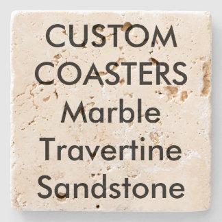 "Custom 4"" Real Stone Travertine Coasters Cork Back"