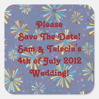 Custom 4th of July Fireworks Bursts Wedding Sticke Square Sticker