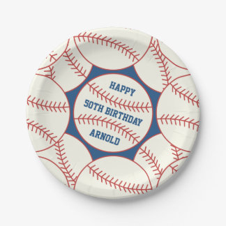 "Custom 50th Birthday Baseball 7"" Paper Plates"