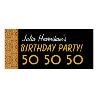 Custom 50th Birthday or Any Year Gold and Black C1 Posters