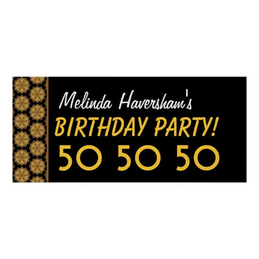 Custom 50th Birthday Party or Any Year Gold Stars Poster