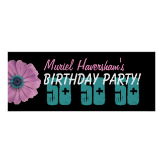 Custom 50th Birthday Party or Any Year Pink Daisy Poster