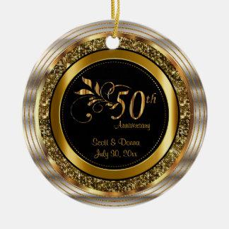 Custom 50th Golden Anniversary Round Ceramic Decoration