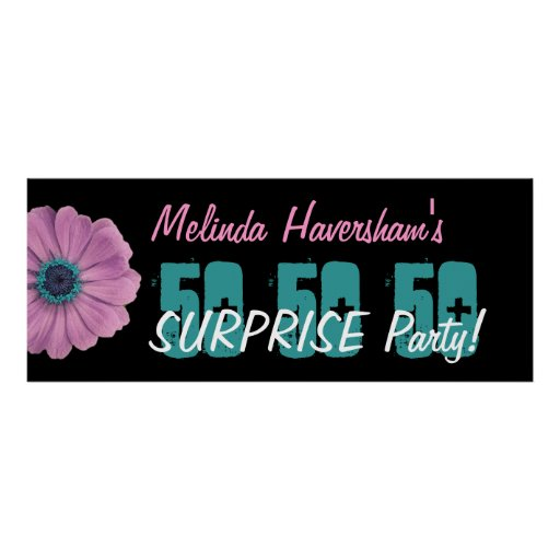 Custom 50th Surprise Birthday Party Pink Daisy Poster
