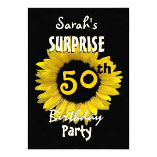 Custom 50th SURPRISE Birthday Yellow Sunflower 13 Cm X 18 Cm Invitation Card
