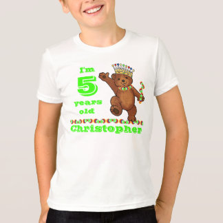 Custom 5th Birthday Party Royal Bear T-Shirt