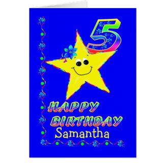 Custom 5th Birthday Stars for Girls Greeting Card