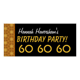 Custom 60th Birthday or Any Year Gold Stars Print