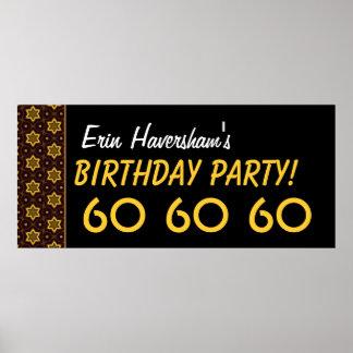 Custom 60th Birthday or Any Year Gold Stars Print