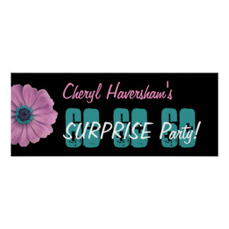 Custom 60th Surprise Birthday Party Pink Daisy Poster