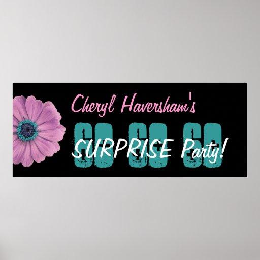 Custom 60th Surprise Birthday Party Pink Daisy Print
