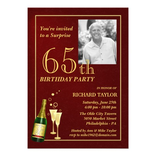 Custom 65th Birthday Party Invitations - Burgundy