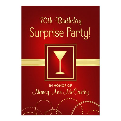 Custom 70th Birthday Surprise Party Invitations