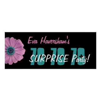 Custom 70th Surprise Birthday Party Pink Daisy Poster