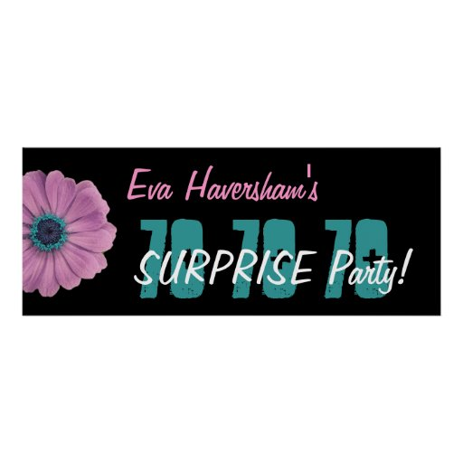 Custom 70th Surprise Birthday Party Pink Daisy Posters