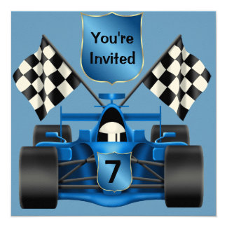 CUSTOM 7th BIRTHDAY Race Car Invitation