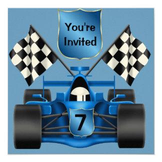 "CUSTOM 7th BIRTHDAY Race Car Invitation 5.25"" Square Invitation Card"