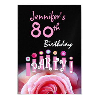 Custom 80th Birthday Party Invitation Pink Candles