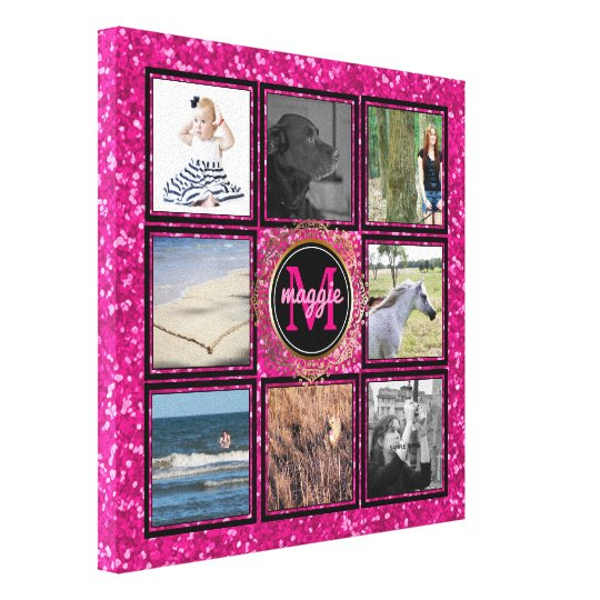 Custom 8 Square Photo Collage Girly Pink Monogram