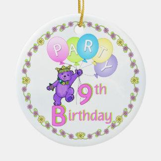 Custom 9th Birthday Party Bear Princess Round Ceramic Decoration