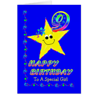 Custom 9th Birthday Stars for Girls Greeting Card