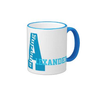 Custom A named and monogrammed, Amazing Ringer Coffee Mug