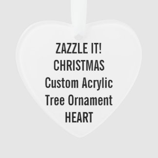 Custom Acrylic HEART Christmas Tree Ornament Blank