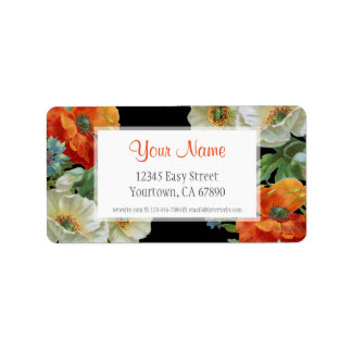 Custom Address Elegant Poppy Cornflowers Labels