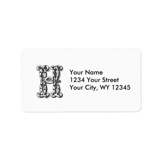 Custom Address Label Monogram Letter H