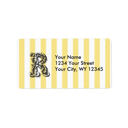 Custom Address Label Monogram Letter R With Yellow