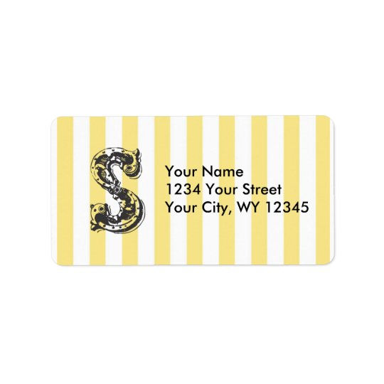 Custom Address Label Monogram Letter S With Yellow