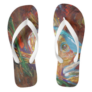 Custom Adult, Wide Straps, fish Flip Flops