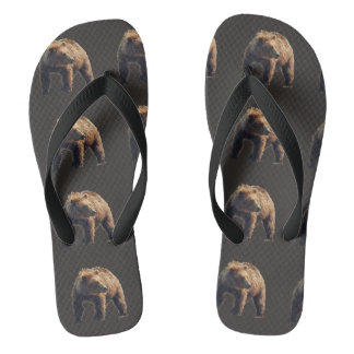 Custom Adult, Wide Straps flip flops with grizzly
