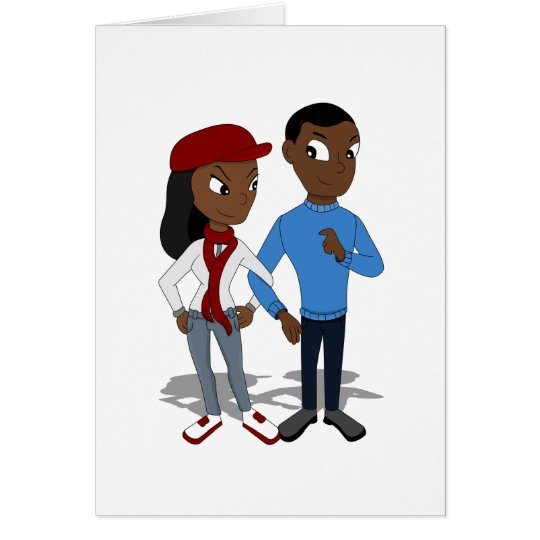 Custom African American couple cartoon Card