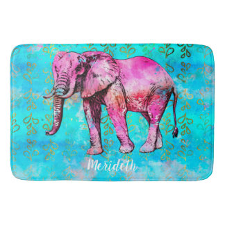 Custom African Elephant Watercolor Pink Trendy Bath Mat