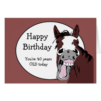 Custom Age 40th Birthday Humor with Horse Cartoon Greeting Card