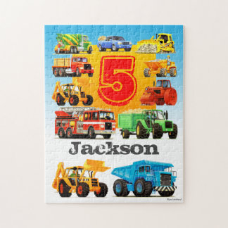 Custom Age and Name Kid's Construction Truck Jigsaw Puzzle